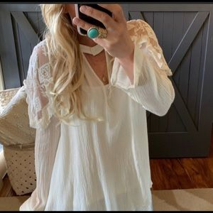 Lace bohemian blouse shirt cream NWT